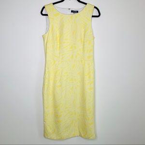 Lands' End yellow white sheath dress TALL